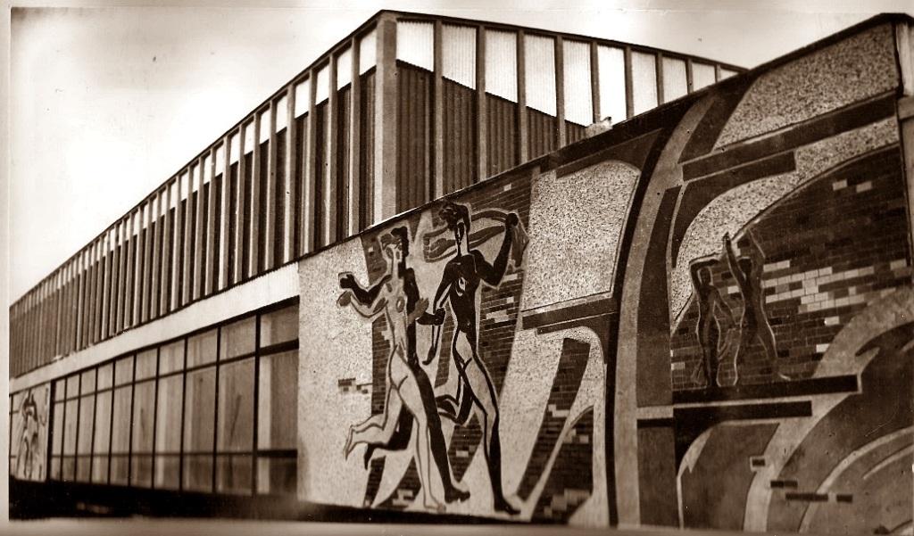 на фронтоне дворца спорта изначально было появились семь мозаичных композиций по различным видам спорта (на переднем плане участники легкоатлетической эстафеты). Со временем во время косметического ремонта фасада от пяти композиций по понятным причинам пришлось отказаться. Их просто-напросто снесли. Мозаика осталась только по тем видам спорта, которые ныне культивируются в крытом катке: хоккей с шайбой и фигурное катание.