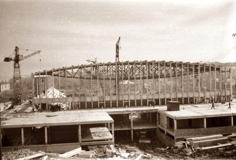 Дворец спорта. Идёт строительство.