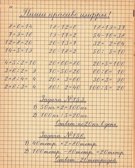 так ставили почерк ученические тетради